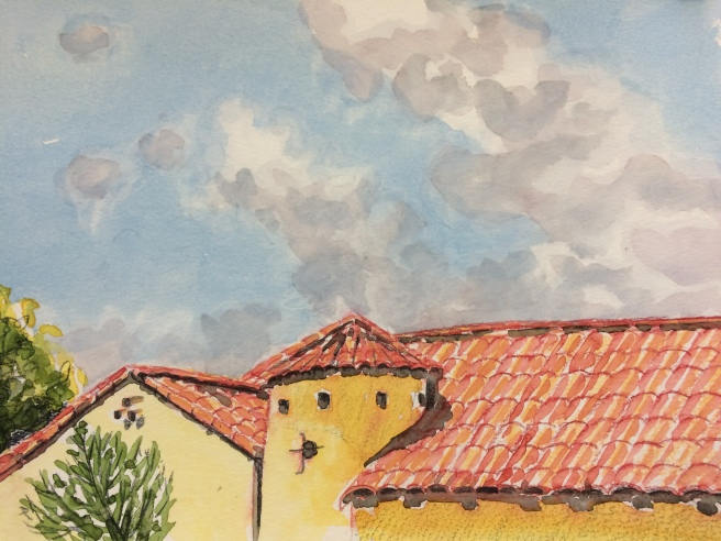 clouds with rooftop